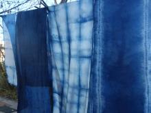 indigo shibori silk scarves