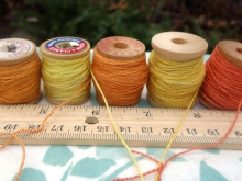 naturally dyed orange and yellow silk embroidery thread