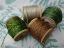 walnut and natural green embroidery silks