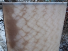 shibori silk scarf dyed with walnut hulls