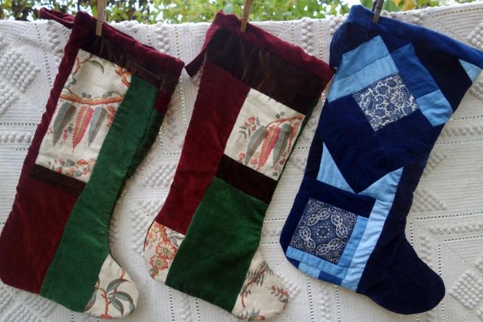 linen and velvet Christmas stocking
