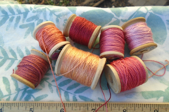 silk thread dyed with madder roots