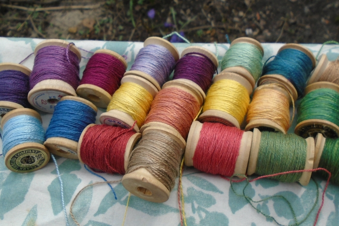 natural dyes on silk embroidery thread