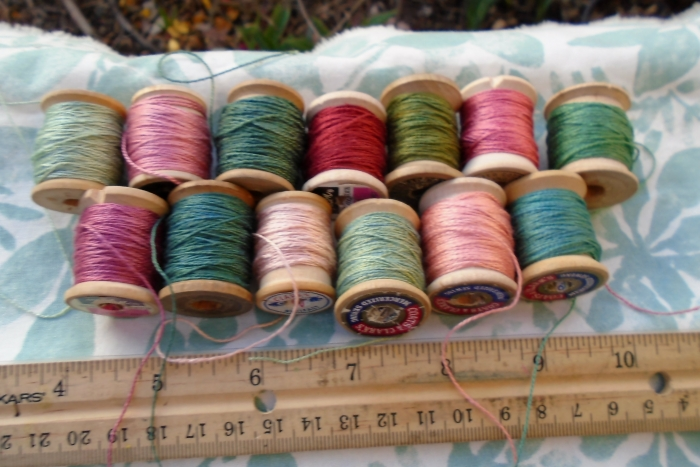 madder pinks and indigo greens on silk