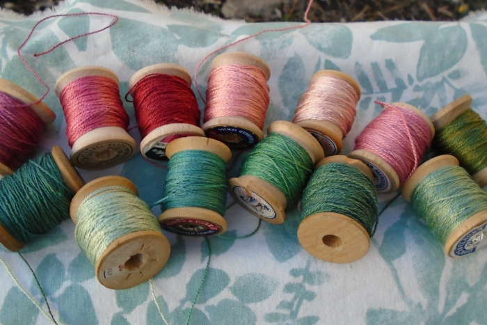 madder pinks and indigo greens on silk