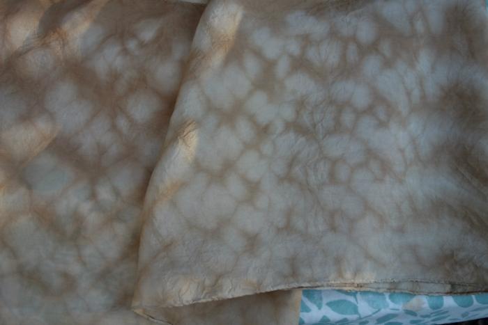 walnut shibori silk scarf