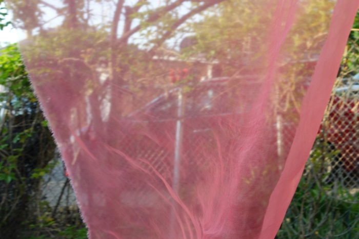 organza silk fabric dyed with madder roots