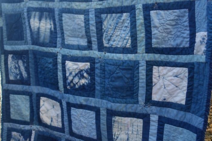 indigo shibori patchwork quilt