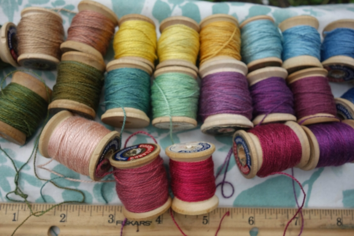silk embroidery thread and natural dyes