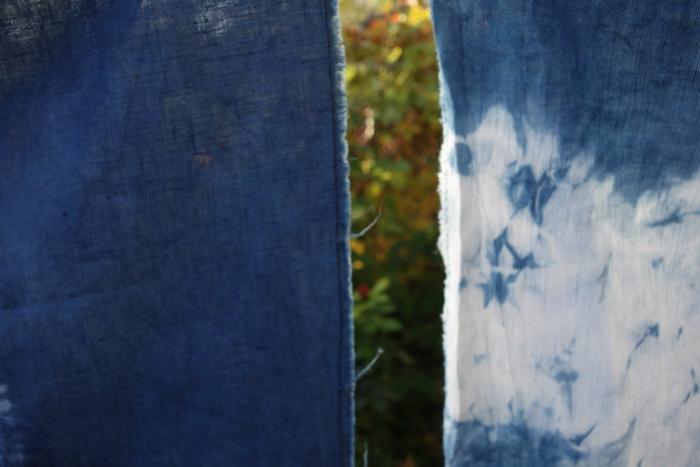 linen and indigo shibori