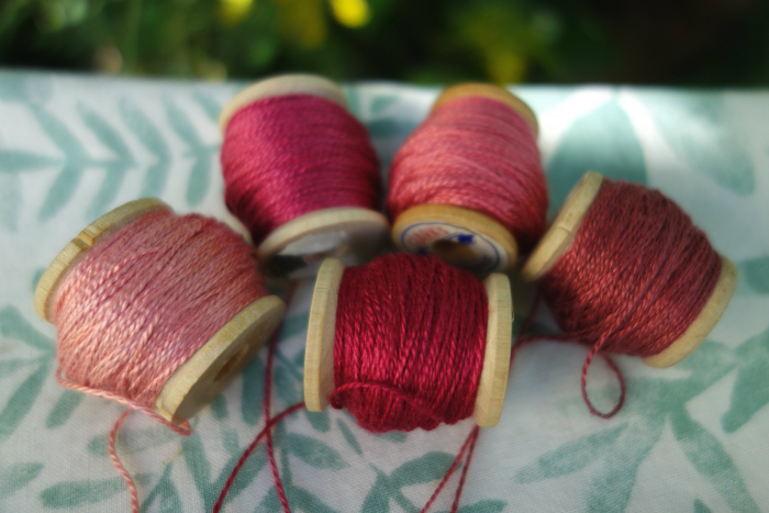 madder and cochineal silk embroidery thread