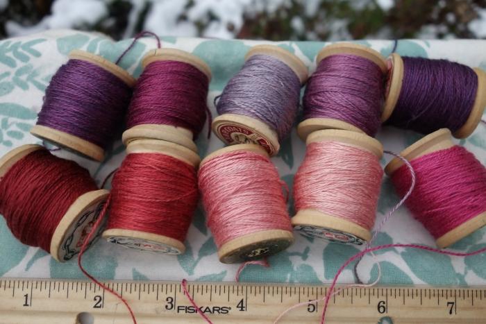 madder and indigo dyed silk embroidery thread