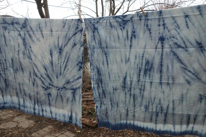 indigo shibori hemp/cotton fabric