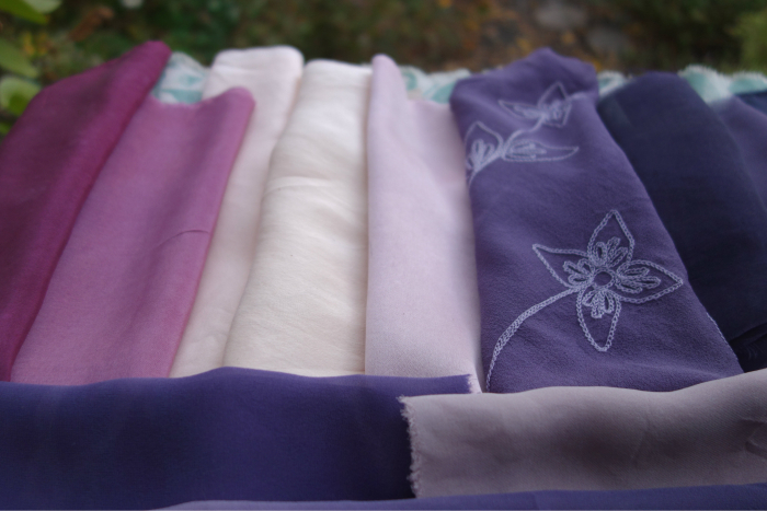 naturally dyed purple and violet silk fabrics