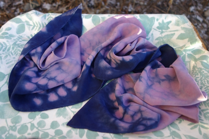 violet and indigo silk scarf
