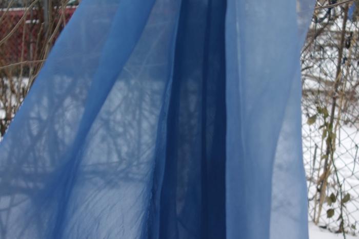 indigo dyed silk organza