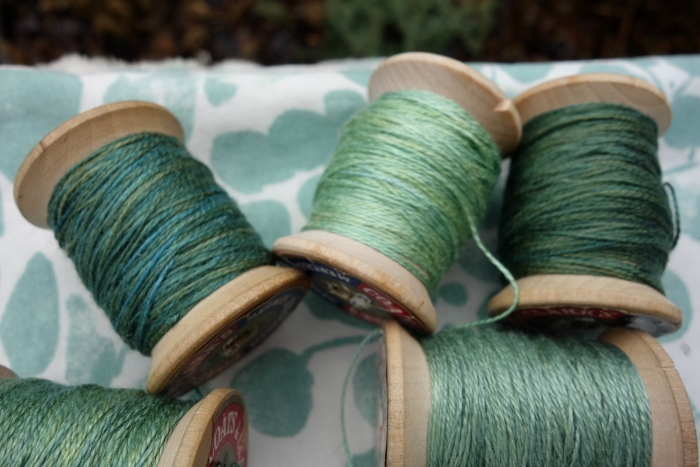 naturally dyed green silk threads