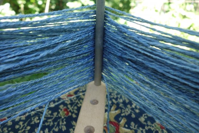 indigo dyed handspun hemp yarn