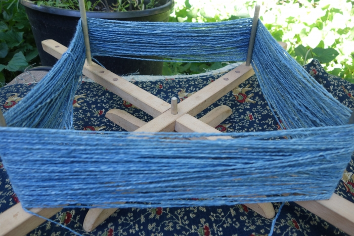 indigo dyed handspun hemp yarn
