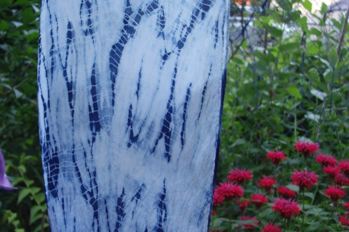 indigo dyed shibori  silk scarf