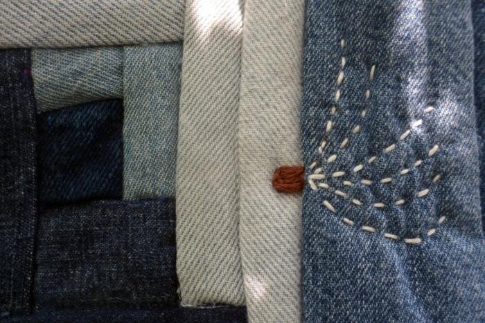 blue jean log cabin quilt