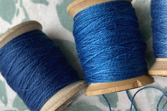 silk embroidery threads dyed with natural indigo
