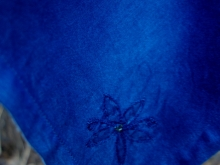 indigo dyed  with vintage napkins beaded flower