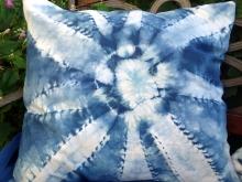stitched shibori indigo pillow cover