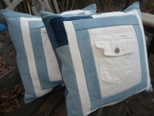 blue and white denim pillow covers