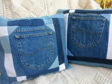 blue jean pillow covers