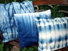 shibori indigo and white pillow cover