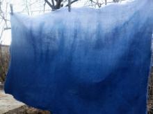indigo ombre linen fabric
