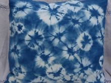 indigo spiderweb shibori pillow cover