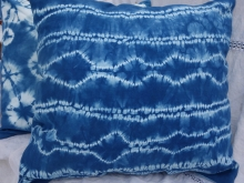 large stitched shibori indigo pillow cover