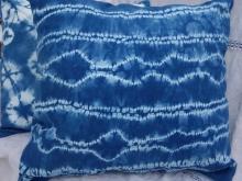 large stitched shibori indigo pillow cover