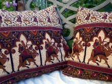 vintage camel fabric pillow covers