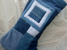 patchwork blue jean Christmas stocking
