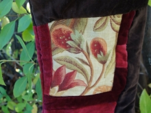 linen and velvet Christmas stocking