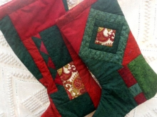 green and red quilted stocking