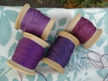naturally dyed purple and violet silk thread