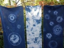 linen and indigo shibori