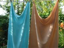 indigo dyed silk chiffon and walnut dyed crepe de chine