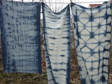 raw silk fabric and indigo dye