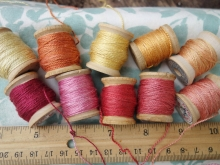 silk thread dyed with madder coreopsis and marigolds