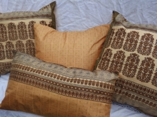 Golden Sari Silk Pillow Covers