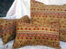 Vintage Sari Silk Pillow Covers Red Gold Yellow