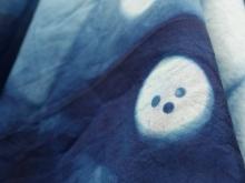 Indigo Dyed Silk Scarf Button Pattern