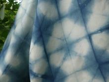 silk scarf folded shibori indigo and white